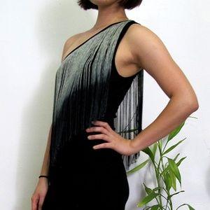 Zara One-Shoulder Tassels Dress